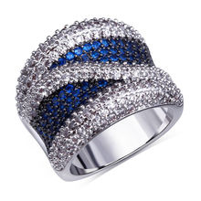 DreamCarnival 1989 Cocktail Rings For Women Fuchsia Green Blue Black CZ Two Tones Colors Anillos Mujer Ringen Wide Band Jewelry(China)
