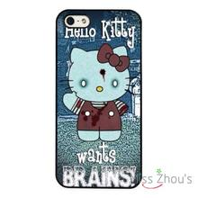 Hello Kitty Funny Zombie Art  back skins mobile cellphone cases cover for iphone 4/4s 5/5s 5c SE 6/6s plus ipod touch 4/5/6