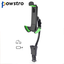 Powsto 2 in 1 Phone Holder Stand Car Charger Universal Ciggarette Burner Socket Cellphone Mount with Easy Charging Devices(China)
