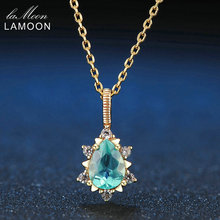LAMOON Pear Cut 5x7mm 1ct 100% Natural Apatite 925 Sterling Silver Jewelry Chain Pendant Necklace LMNI023(China)