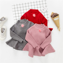 Baby Girl Knit Dress Infant Soft Cotton Clothes Solid Color Sweater Draped Dress Toddler Girls Princess Elegant Party Dresses(China)