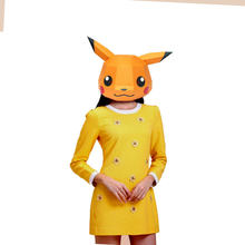 Paper Mask 3d Pikachu Costume Cosplay DIY Paper Craft Model Mask Christmas Halloween Prom Party Gift(China)