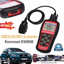 Hot Sale OBD2 Scanner KW808 Car Diagnostic Code Reader CAN Engine Reset Tool KONNWEI Auto Scanner Coverage(us Asian & European)(China)