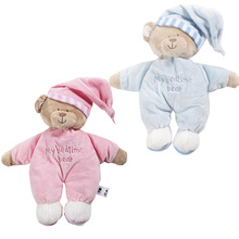 Baby Toys Sleeping Bear Doll 32CM Length Cute Lovely Baby Soft Toy Blue Pink Plush Gifts for Kids Free Shipping