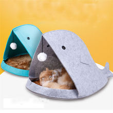 Newest 2 color Pet Dog Dual Use Convenient Portable Shark Shape Cute Dog Beds Warm Soft Foldable Dog House Felt Mats Blankets 20(China)