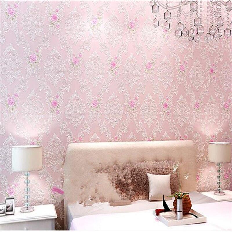 beibehang papel de parede Rural environmental protection non woven 3d wallpaper bedroom sweet romance of 3 d relief papier peint<br>