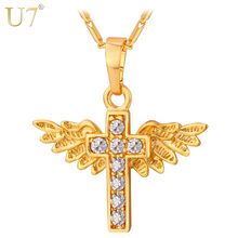 U7 Angel Wings Cross Pendant Necklace Gold Color Crystal Christian Jewelry Christmas Gifts For Women P597(China)