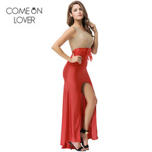Comeonlover Back bandage hollow out red long dresses top see through sexy tank maxi dress front slit abiye gece elbisesi VL1068