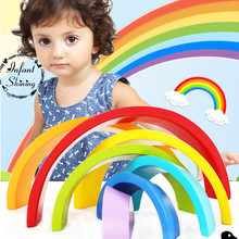 2017 Promotion Juguetes Building Blocks Rainbow Wooden Toy Bricks Colorful Arch Bridge Baby Early Learning Environmental Toys(China)