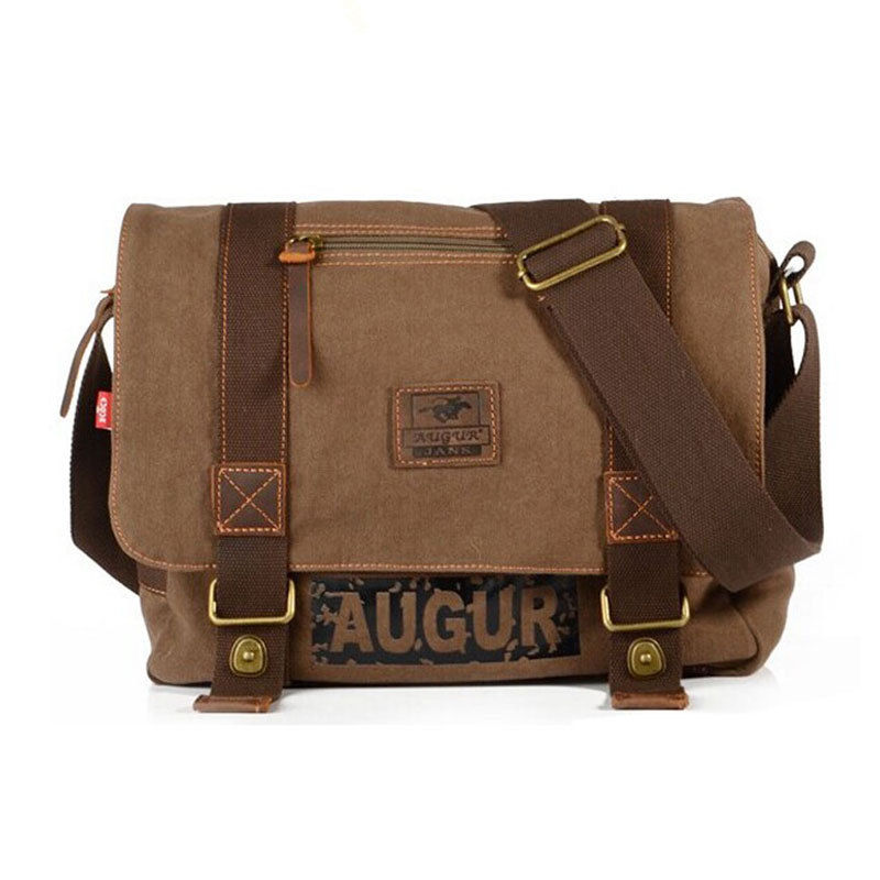 Mens Vintage Canvas Satchel School Military Messenger Shoulder Bag Boys Travel Handbag Coffee Free shipping<br>