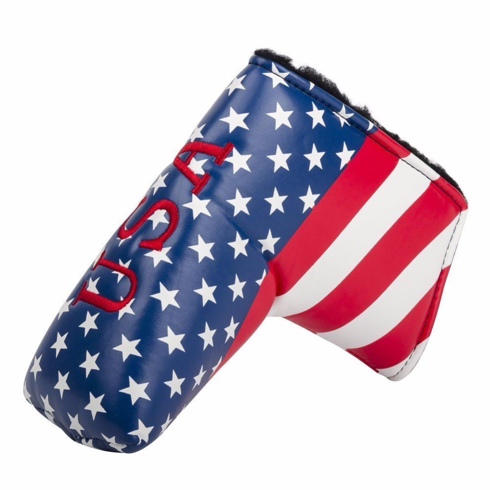 US Flag Embroidery Golf Putter Club Head cover PU Leather L-style Putter Protective Cover