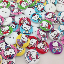 20 pcs kitty cat Wood Buttons 20mm Sewing Craft Mix Lots WB09(China)