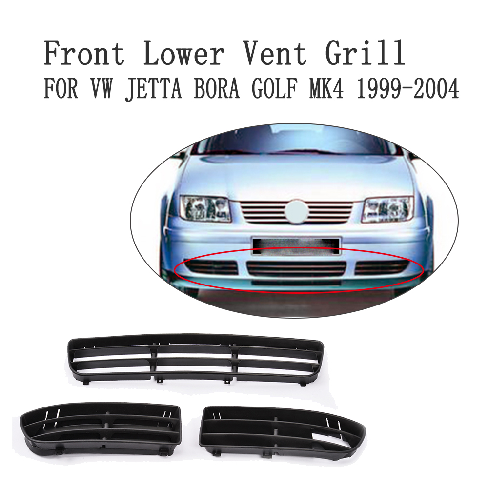Front Bumper Lower Side Vent Grill Air Intake Mesh Mask Cover For Volkswagen VW Jetta Bora Golf 4 MK4 1999-2004 ABS 3PCS/Set<br>