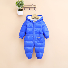 Solid baby winter jumpsuit hooded down & parkas down baby girl romper winter boys rompers warm baby winter snowsuit overalls(China)