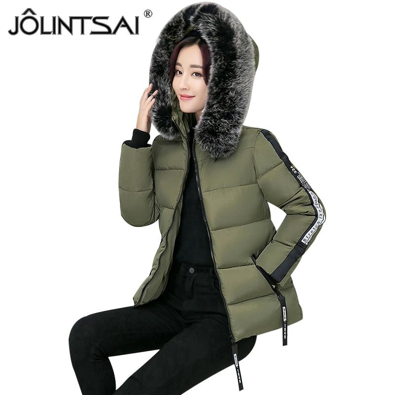 JOLINTSAI New 2017 Short Slim Parka Winter Jacket Women Clothing Warm Parkas Jackets Women Cotton Winter Coat FemaleÎäåæäà è àêñåññóàðû<br><br>