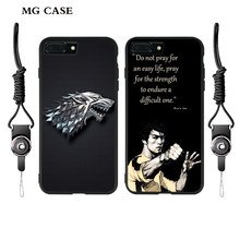 Phone case for Iphone X 7 7plus 8 6s plus Iphone 8 5S X Game of Thrones house stark targaryen & Bruce Lee shell cover &hang rope
