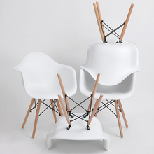 EGGREE Set of 4 Dining Armchair for Dining Room&Living Room Chairs With Wood Leg White Arm Chair Casual Plastic Leisure Chair