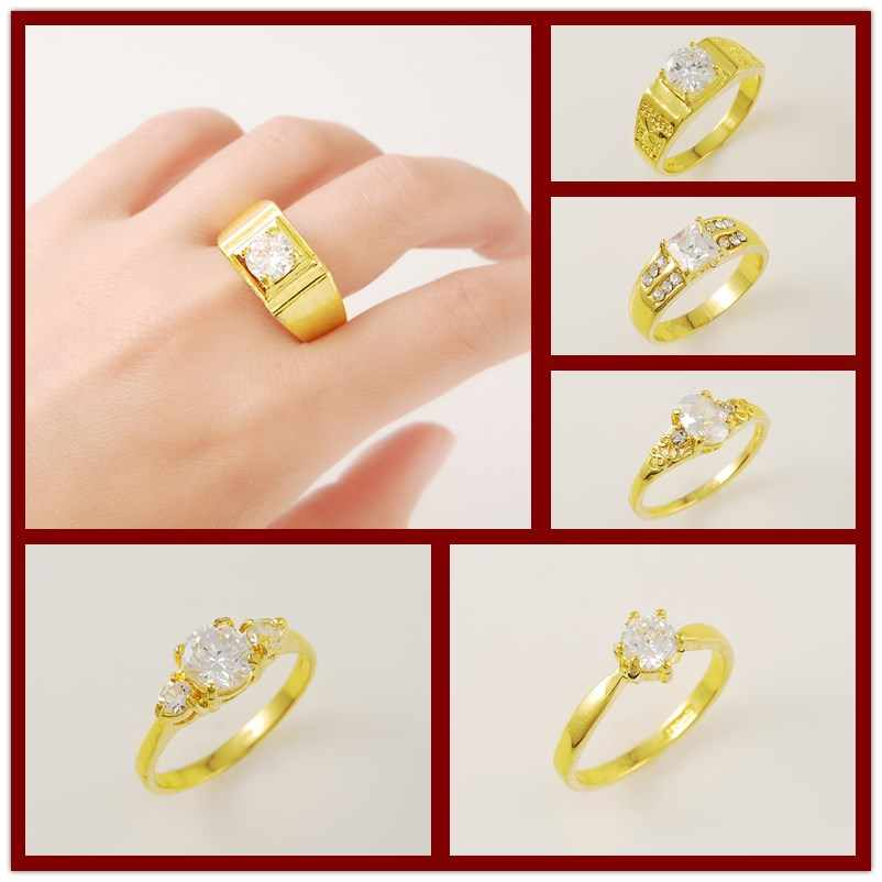 bc2f185ffb 24K Pure Gold Rings for Men Women Hip Hip Cocktail Party Jewelry 6 Styles  Size7/