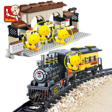0235 301Pcs Electric Train Building Block Train Station Building Block Eductional Sluban Block DIY Bricks Compatible With Lego