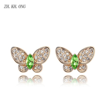 ZH.KH.ONG Exquisite Crystal Butterfly stud earrings Elegant embed cubic zirconia Gold color women jewelry E245 - ZH KH ONG Store store