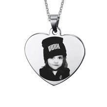 Personalised Gift 316L Stainless Steel Personalized Name Photo Heart Dog Tag Pendant Necklace Customized Necklace