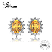 JewelryPalace 1.5ct Oval Natural Citrine Stud Earrings 925 Sterling Silver Fine Jewelry Charms Wedding Earrings Big Promotion