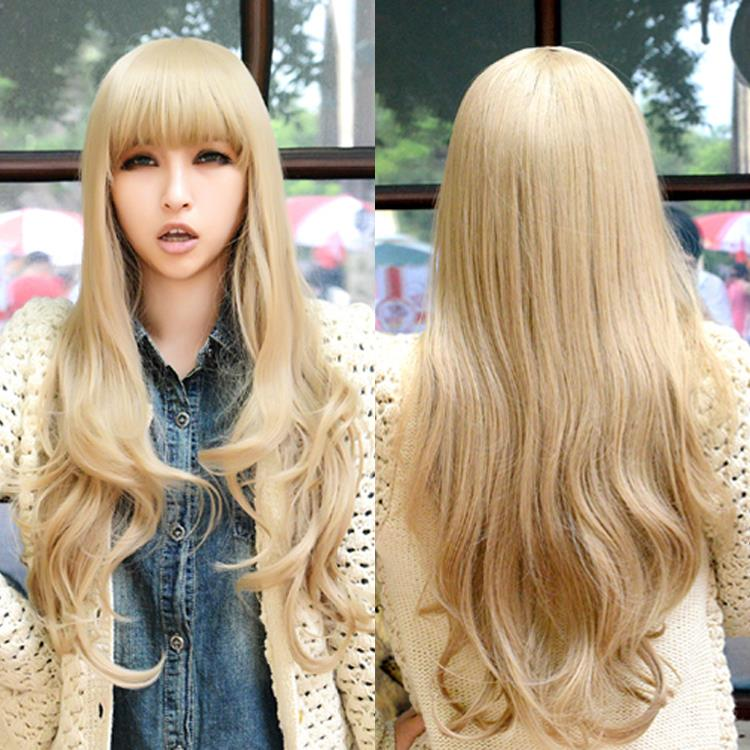 65 cm Harajuku Anime Wig Cosplay Long Wavy Curly Synthetic Hair Sexy Blonde Ombre American Wigs With Bangs Peruca Perruque<br><br>Aliexpress