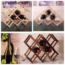 Classical Wooden Red Wine Rack Beer Foldable 3/6/10 Bottle Holder Kitchen Bar Display Shelf Organizer Home Table Decor XHH8043(China)