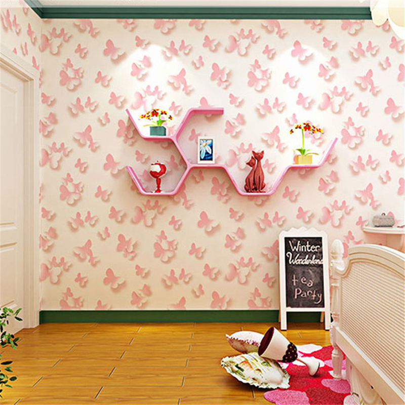 beibehang Modern simple 3D stereo pink butterfly wallpaper bedroom living room children s room princess room pink wallpaper<br>