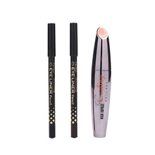 Women Beauty Combination Mascara 2pcs Lipliner pencil 3D Fiber Lashes Lengthening Longwearing Thick Curling Waterproof Eyes Make(China)
