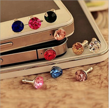 New 5 X Mixed Color Crystal 3.5mm Anti Dust Plug Charm for Mobile Phone free shipping(China)