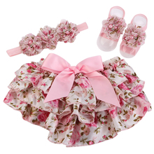 Baby Bloomers Floral Lace Ruffled Pants Baby Girls Rosette Headband Barefoot Sandal Set,Baby Clothing Shivering Vestidos Set(China)