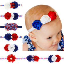 10PCS/LOT Red Blue Hairpin Bow Solid Grosgrain Ribbon Girl Bow Hair Tie Clip Band Bow Hair Accessories 4Th July Dress UP Gift(China)