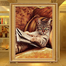 New Diy 5D Needlework Glasses Cat Lying On The Sofa Read Newspaper Diamond Painting Mosaic Diamond Embroidery Home Decoration(China)