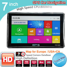 New 7 inch HD GPS Navigation 800M/FM/8GB/DDR3 2016 Maps For Whole Europe/ USA+Canada TRUCK Navi Camper Caravan