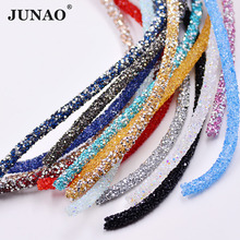 JUNAO 1 Meter Crystal Rhinestone Chain Trim Bridal Beads Applique Tube Crystals Strass Banding For DIY Bracelet Jewelry Crafts(China)