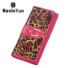 KEVIN YUN Fashion Leopard Genuine Leather Women Wallets Long Designer Female Purse Clutch Bags Carteira Feminina(China)