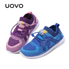 UOVO Fly Knit Kids Shoes Spring Shoes for Boys & Girls Breathable Children Sneakers Fashion Sport girls Shoes Eur size 27#-37#(China)