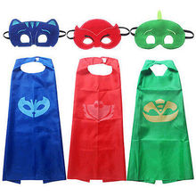 2pcs!!2017 New Toddler Kids Clothing Set PJ Mask Cape and Mask Children Set PJ Mask Superman Costume Kids Party Favor