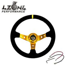 LZONE - GOLD Steering wheel ID=14inch 350mm OMP Deep Corn Drifting Steering Wheel / Suede Leather Steering wheels JR-SW21G