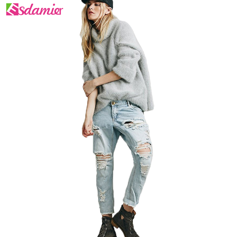 New Stylish Jeans Woman Ripped Boyfriend Jeans For Women Light Blue Washed Hole Jean Femme Loose Denim Jeans WomenОдежда и ак�е��уары<br><br><br>Aliexpress