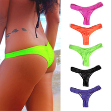 2016 Sexy Brazilian Mini Thong V Shape G-String Bikini Beach Underwear Swimwear 5 Colors Thong for Choice(China)