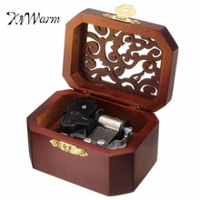 KiWarm Classic Vintage Hollow Pattern Clockwork Type Music Box Hand Cranked Music Box Wooden Musical Box Jewel Crafts Ornament