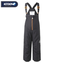 Moomin Winter zipper pants 2017 New Polyester Solid Boys Straight Zipper Fly Woven Winter pants waterproof overalls for kids(China)