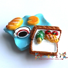 Fridge Magnet Picnic bread Fruit simulation resin magnet Three - dimensional magnetic refrigerator Creative magnetic Decoration