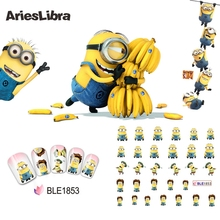 AriesLibra Nail Sticker Diffferent Pose Yellow Minions Design Cartoon Nail Water Transfer Foil for Water Decal for Nail Beauty(China)