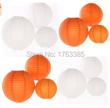 24 Pack Mixed Sizes White Orange Paper Lantern Lampshade for Wedding Centerpiece Birthday Party Garden Home Decoration(China)