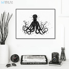 Modern Black White Marine Animal Camvas A4 Art Print Poster Abstract Octopus Wall Pictures Bedroom Home Decor Paintings No Frame(China)