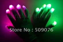 Free shipping 400pcs(200pairs) Entertainment Flashing Gloves Glow 7 Mode LED Rave Light Finger Lighting Mitt white(China)