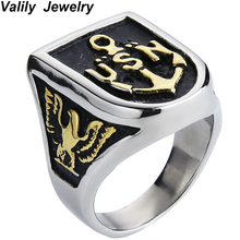 Valily Jewelry Mens Eagle Ring Stainless Steel Anchor USN Navy Design Ring for Men Gold/Silver Black Biker Ring Size 7-14(China)